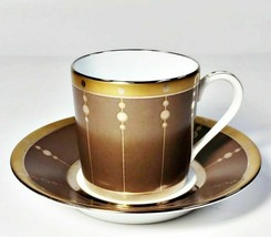 Haviland Limoges Tambour Bronze Demitasse Cup & Saucer Set - $51.47