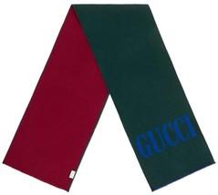 NEW GUCCI CURRENT GREEN & RED LOGO WOOL SILK LARGE JACQUARD WRAP SCARF U... - $280.49