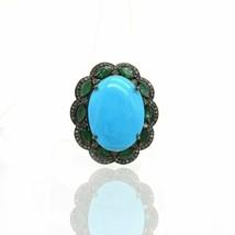 Pave Diamond Turquoise Ring Silver Emerald Gemstone Victorian Designer J... - $208.89