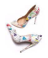 Women Heels Graffiti Colorful Women Pumps Fashion Sexy High Heels Pointe... - $22.60