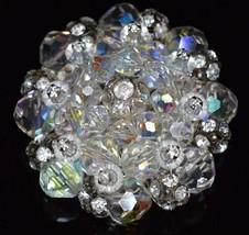 VTG RARE VENDOME Silver Tone Clear Crystal AB Rhinestone Brooch Pin - $74.25