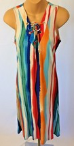 Boho Festival Dress S Shift Multi Color Stripe Stretch Sleeveless Philosophy - $26.72
