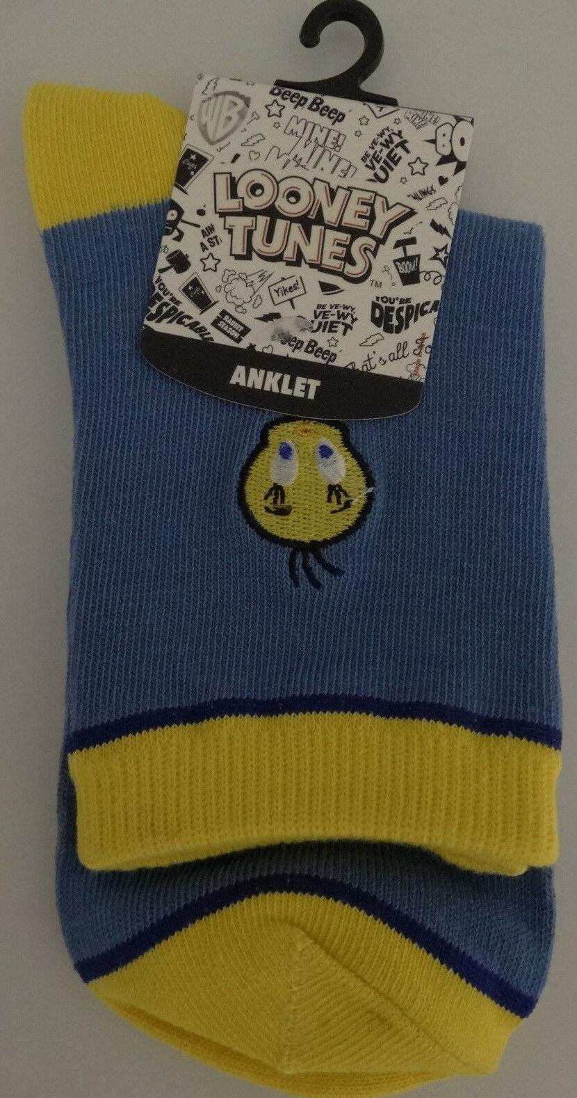 Tweety Bird Looney Tunes Cartoon Bird Embroidered Anklet Ankle Socks