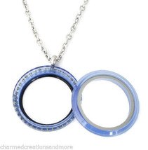 30mm Blue Acrylic CZ Floating Charm Memory Locket Necklace Stainless Ste... - $14.84