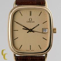 Omega Ω homme plaqué or quartz watch W / DATE détail et bracelet cuir - $730.35
