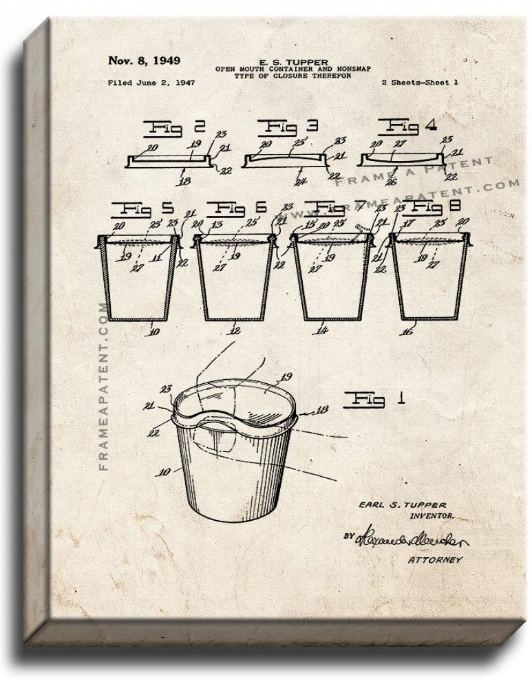 Primary image for Tupperware Cup Patent Print Old Look on Canvas
