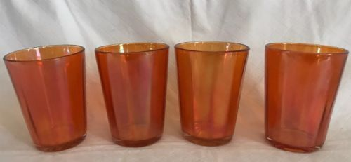 "Iridescent Marigold Carnival Glass Juice Punch Cups Mid-century EUC 4"" Set of 4"