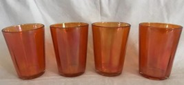 "Iridescent Marigold Carnival Glass Juice Punch Cups Mid-century EUC 4"" S... - $19.80"