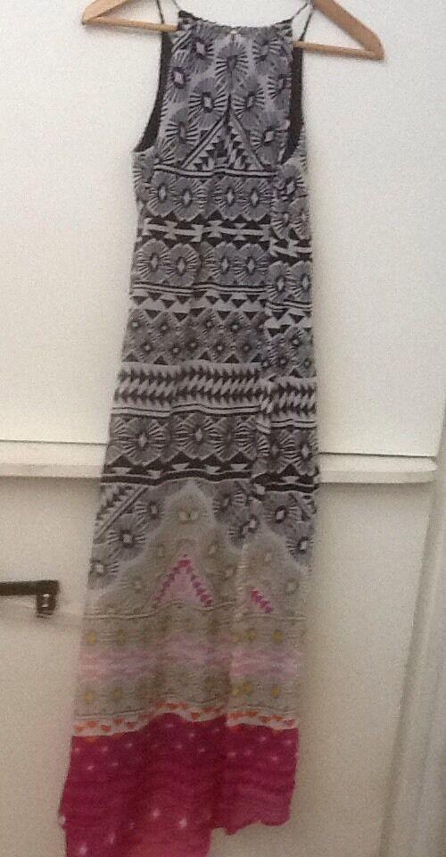 Old Navy Womens Maxi Dress Black Pink Print Hi Low Chiffon Lined Sleeveless XS