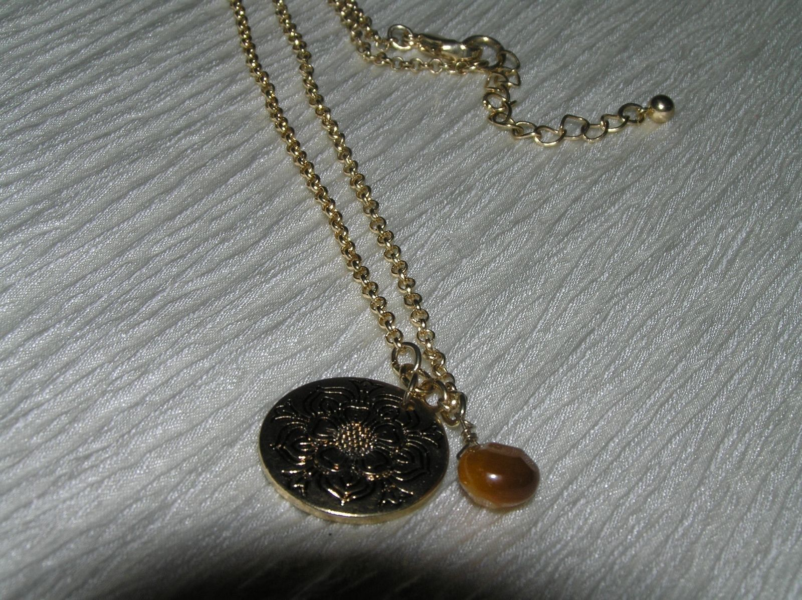 Estate Simple Goldtone Chain with Etched Round Flower Pendant & Brown Teardrop