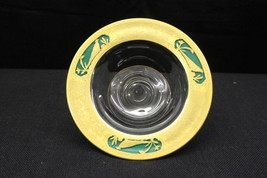 Depression Glass Clear Rim Gold PHEASANT Mayonnaise Bowl w/Reverse Paint... - $59.99