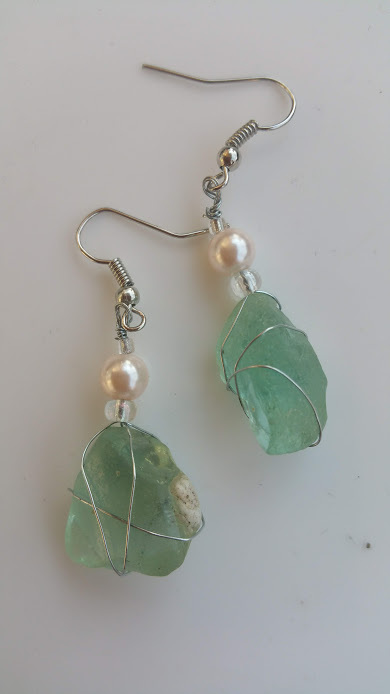 Oceanic Angel earrings: Authentic Estonian blue sea glass, pink beads