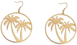 18K Gold Plated Hollow Beach Coconut Tree Big Round Dangle Drop Earrings - $36.13