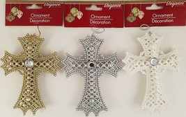 "Christmas Ornament Glitter Crucifix Crosses 5"", Select: Gold, Silver or White - $2.99"