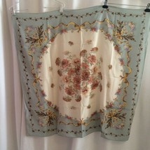 "Vintage Silk Club For The Vera Companies Silk Scarf 40"" Cream Sage Peach... - $12.00"