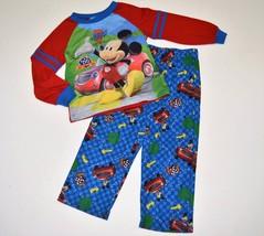 Toddler Boys Sz 4T MICKEY MOUSE Road Rally Racer 2 Piece Pajama Sleepwea... - $7.99