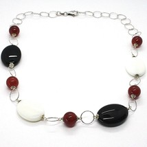 Necklace Silver 925, Agate White, Onyx, Carnelian, Chain Rolo ' Worked image 1