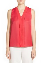 NWT Ellen Tracy Women's Georgette & Twill V-Neck Shell Size XL Red MRSP ... - $50.99