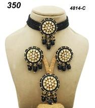 Indian Ethnic Kundan Gold Plated Pendant Necklace Earring tika Jewelry Set 2 - $27.71