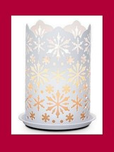 PARTYLITE Candle Sleeve Holder Winter Lace NEW P91262 White Metal - $21.77