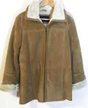 Avanti Women's Faux Shearling Suede Leather Coat Jacket Size M - $29.65