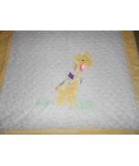 Lollypop Giraffe Baby Blanket White Yellow Ribbon Loops Shaggy Swirl - $37.49