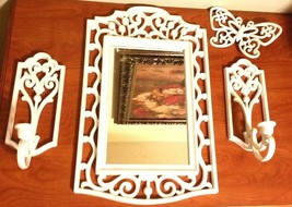 Vintage 80s White Home Interiors Homeco Candle Sconces Mirror Butterfly ... - $81.18