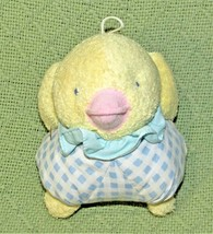 "6"" Vintage EDEN YELLOW CHICK Plush Blue Plaid Stuffed Animal Baby Toy Pi... - $24.75"