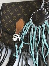 Fringe Dreamcatcher Key Chain made from Authentic Noe- Gray and Turquoise - $39.00