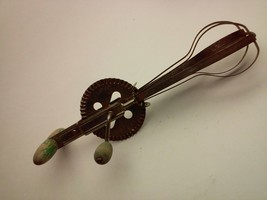 Vintage A&J Hand Mixer Egg Beater With Wood Handle - $29.09