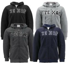 Men's Texas Embroidered Sherpa Lined Warm Zip Up Fleece Hoodie Sweater Jacket image 1