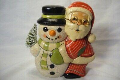 Vaillancourt Folk Art, Santa and Snowman Signed by Judi Vaillancourt