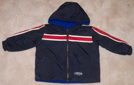 OshKosh Reversible Coat Jacket Blue Size 18 Month Baby Toddler Nylon Hood Fleece - $14.80
