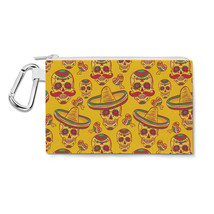 Mexican Sugar Skulls in Gold Canvas Zip Pouch - $15.99+