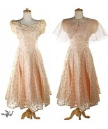 Vintage 50s Pink Peach Full Skirt Embroidered Dress - Sheer Capelet - S -Hey Viv - $89.86 CAD