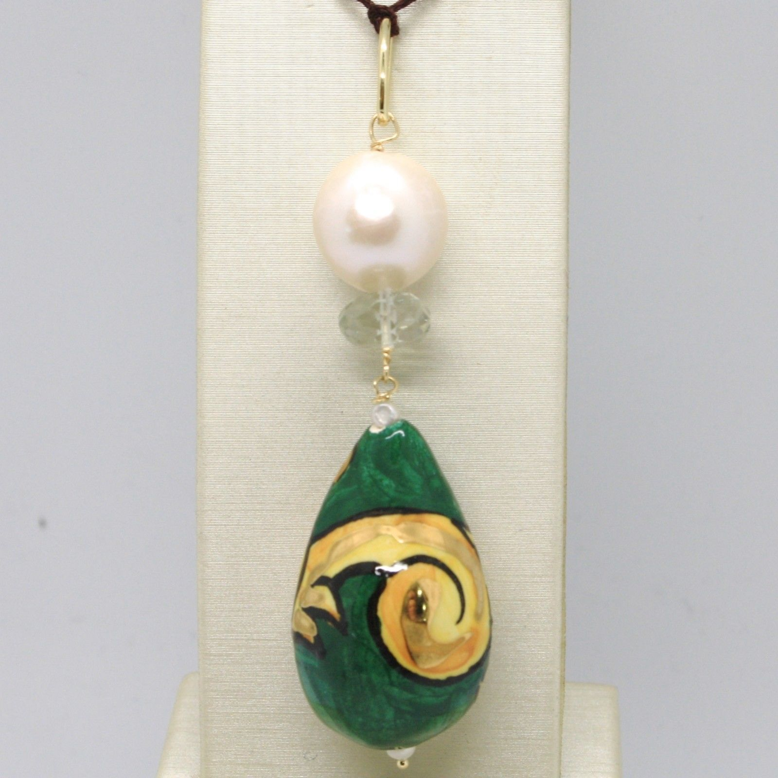 18K YELLOW GOLD PENDANT PRASIOLITE PEARL, CERAMIC BIG DROP HAND PAINTED IN ITALY
