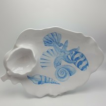 "Seashell Melamine Chip Dip tray Blue Jennifer Chien Designs 17"" Starfish... - €14,95 EUR"
