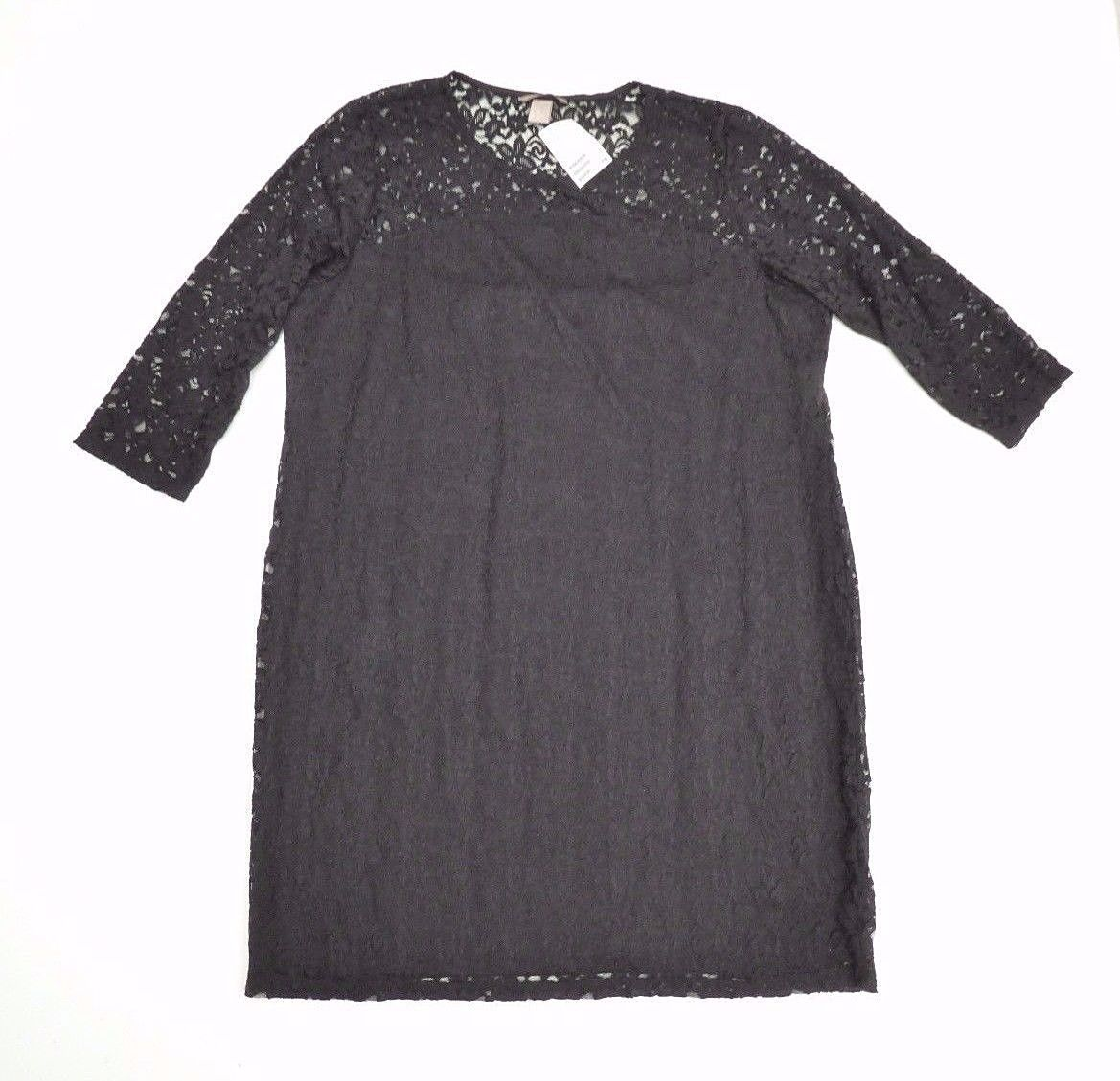 5c42e530d7e3 Black Lace H&M 3/4 sleeve Stretch Lined Knee Length Women's Dress Size 2XL