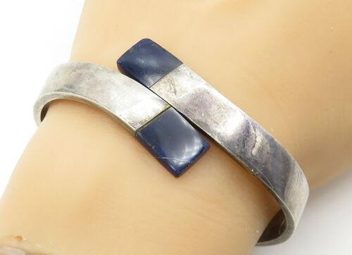 MEXICO 925 Silver - Vintage Lapis Lazuli Detail Bypass Cuff Bracelet - B6256