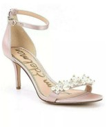Sam Edelman Platt Women's Shell Pink Satin Embellished Sandal Sz 9.5 - $69.29