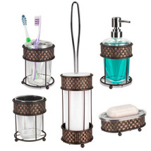 Home Basics Weave Pattern Metal & Acrylic Bathroom Accessory 5 Piece Set - $42.29