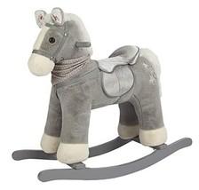 ROCK MY BABY Rocking Horse Gray,Plush Stuffed Animal Rocker,Wooden Rocki... - $99.94