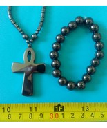 Hematite 1 necklace cross pendant amulet &1  br... - $23.27