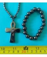 Hematite 1 necklace cross pendant amulet &1  bracelet  Philippine made - $23.27