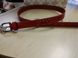 Fossil red jean belt color is tomato perforated leather size X- Large - $11.30