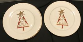 Pier 1 Porcelain Christmas Tree Set / 4 Salad Plates Red  Retired Pattern - $16.70