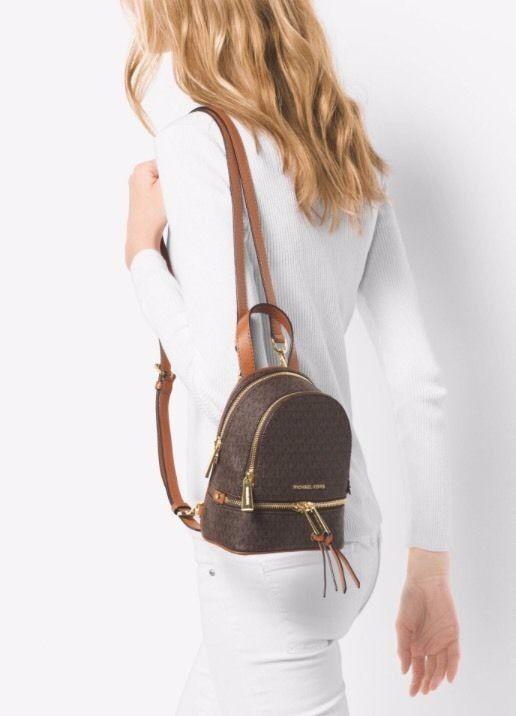b6f4e21312a0b1 MICHAEL KORS Studded ABBEY XS BACKPACK ~ Vanilla PVC & Acorn Leather ~ NWT