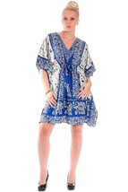 Short Ravishing Elephant Kaftan~Beachwear V-Neck Blue Caftan Tunic~Free Size - $9.12