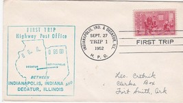 FIRST TRIP H.P.O. INDIANAPOLIS IND & DECATUR ILL SEPT 27 1952 TRIP 1 - $1.78