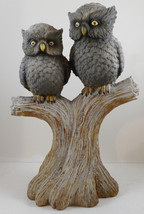 "Two Owls Perching On Tree Stump Resin Figurine Bird Collectible 14"" - $24.74"